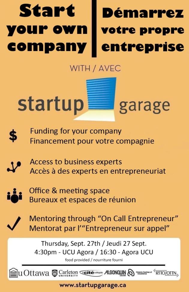 The Startup Garage Information Session is Thursday September 27, 2012